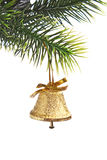 Gold bell on the Christmas tree Royalty Free Stock Photography