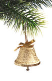Gold bell on the Christmas tree Royalty Free Stock Photos