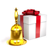 Gold bell and gift box with red bow 3d illustration. Royalty Free Stock Images