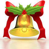 Gold Bell and Holly Stock Photo