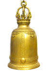 Gold Bell on a isolated white background,Bells in Temple Thailan Stock Photo