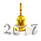 Gold bell and numbers 2017 3d illustration. Stock Photography