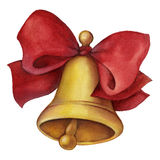 Gold bell with red ribbon bow. Hand drawn picture Royalty Free Stock Photos