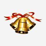 Gold bell with red ribbon illustration. Christmas bell illustration. Jingle bell vector Stock Photos