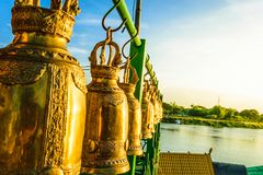 Gold bell in Thailand temple stock photography