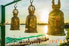 Gold bell in Thailand temple royalty free stock image