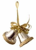 Gold bells. Gold new year two bells Royalty Free Stock Photo