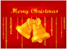 Gold bells on red background & text Stock Photography