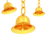 Gold bells on a white Royalty Free Stock Photos