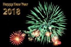 Gold beschriftet guten Rutsch ins Neue Jahr 2018 und blitzt von den Feuerwerken Stockfoto