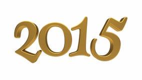 Gold-Beschriftung 2015 lokalisiert Stockfotografie