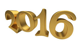Gold-Beschriftung 2016 lokalisiert Lizenzfreie Stockbilder