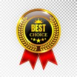 Gold Best Choice Label Illustration Golden Medal Label Icon Seal Sign Isolated on Transparent Background. Vector Stock Images