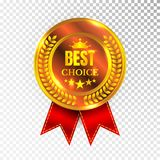 Gold Best Choice Label Illustration Golden Medal Label Icon Seal Sign Isolated on Transparent Background. Vector Royalty Free Stock Photo