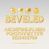 Gold Beveled Outline Font and Digit Stock Photography