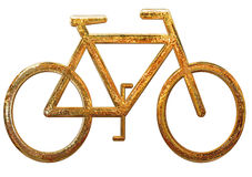 Gold Bicycle  Royalty Free Stock Photography