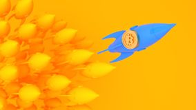 Gold bidcoin on blue rocket lead yellow rocket  .Financial growth concept.3d rendering  illustration. Pastel style Royalty Free Stock Photography