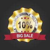 10% gold big sale banner emblem medal label. 10% gold big sale banner emblem medal Stock Photo
