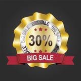 30% gold big sale banner. Emblem medal label Stock Photography