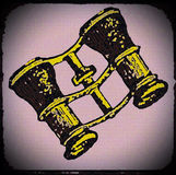 GOLD BINOCULARS. Vintage binoculars in black and yellow graphic print on  old faded background Stock Image