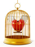 Gold bird cage with heart isolated on white background. 3D illustration Royalty Free Stock Photo