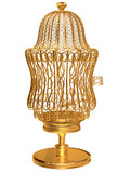 Gold birdcage. On a white background Royalty Free Stock Images