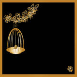 Gold birdcage on black background. With Copy Space Stock Photo