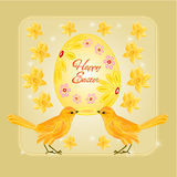 Gold birds and easter eggs vector Royalty Free Stock Images