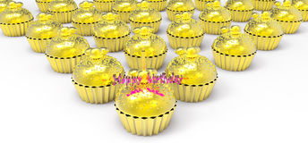 Gold birthday cupcake Royalty Free Stock Photography