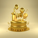 Gold Birthday Surprise. Birthday celebrations with gold balloons, gold glasses and champagne bottle and a cake. 3D illustration Stock Photography