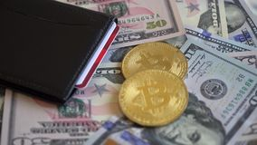 Gold Bit Coin BTC coins, USA dollars with Wallet and Credit Card.  stock footage