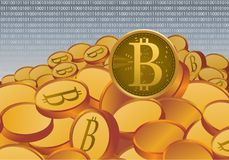 Gold bit coin crypto currency physical money concept on network Stock Image