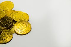 Gold Bitcoin or BTCimage Macro shots crypto currency Bitcoin c stock image