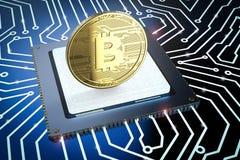 Gold-bitcoin auf Leiterplatte Lizenzfreies Stockbild