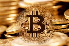 Gold bitcoin on the background of pile of coins Royalty Free Stock Image