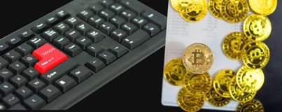 Gold bitcoin on Bank account with keyboard in concept savings stock photos