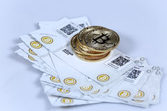 Gold Bitcoin and banknotes Royalty Free Stock Photo