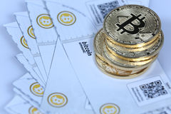Gold Bitcoin and banknotes Royalty Free Stock Image