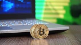 Gold BitCoin BTC stock footage