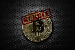 Gold bitcoin bubble. Gold bitcoin with Bubble text, on grunge background Stock Photos