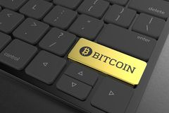 Gold bitcoin button on modern keyboard. 3D illustrating. Gold bitcoin button on modern keyboard. 3D illustrating Stock Photos