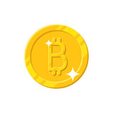 Gold bitcoin coin cartoon style. Shiny gold bitcoin sign for designers and illustrators. Gold piece in the form of a vector illustration Royalty Free Stock Images