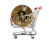 Gold bitcoin coin Royalty Free Stock Images