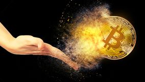 Gold bitcoin coin Stock Photography
