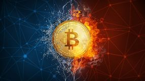 Gold bitcoin coin hard fork in fire flame, lightning and water splashes. Stock Photos