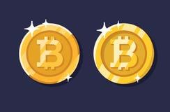 Gold bitcoin coin set Royalty Free Stock Photography