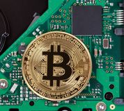 Gold Bitcoin with computer circuit board in background. Gold Bitcoin on computer circuit board Royalty Free Stock Images
