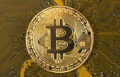 Gold bitcoin concept - computer circuit board with bitcoin processor and microchips. Electronic currency, Internet finance Stock Photo