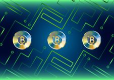 Gold bitcoin concept of futuristic background with green lines. Vector royalty free illustration