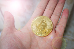 Gold Bitcoin. Digital currency, financial industry, Bitcoin in hand royalty free stock photo